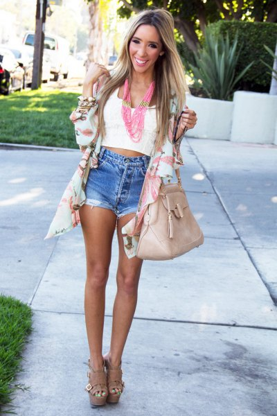 pale pink chiffon cardigan white cropped vest top denim shorts