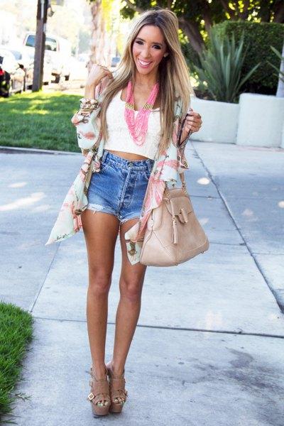 pale pink chiffon cardigan white cropped vest top denim shorts