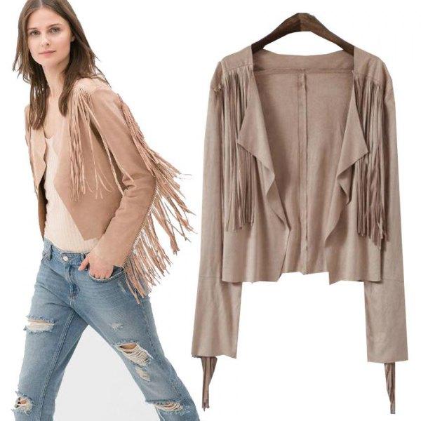 pale pink short suede fringe jacket ripped boyfriend jeans