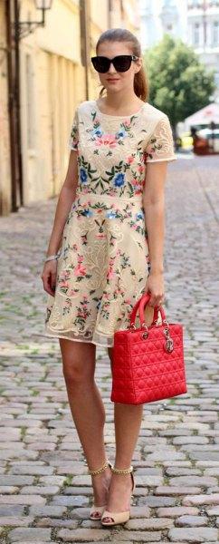 pale yellow gathered waist knee length dress