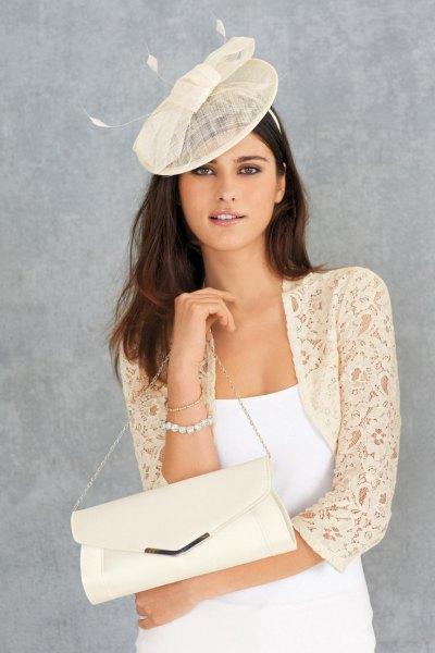 pale yellow lace shrug white tank dress
