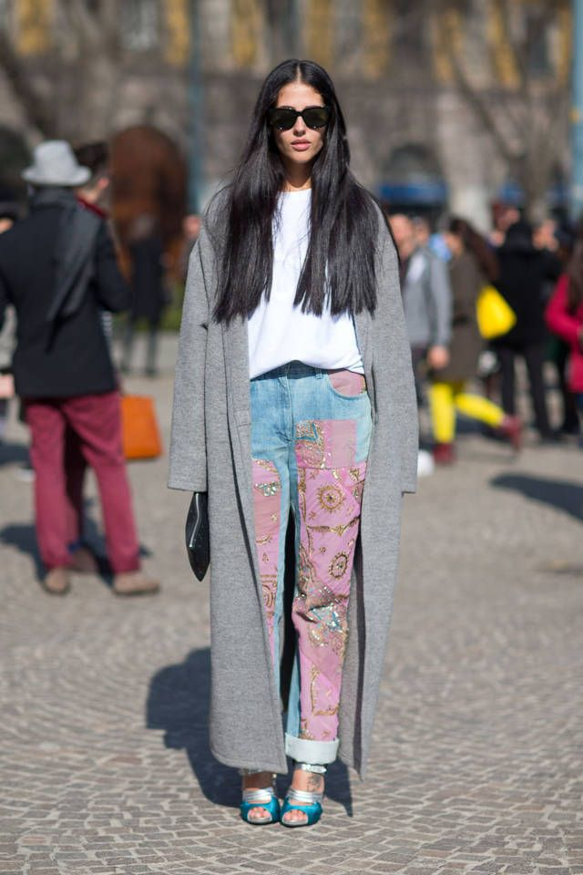 patched jeans pink patchwork