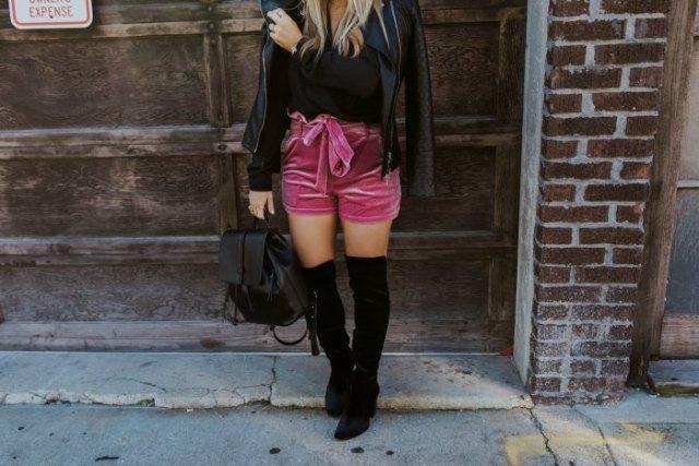 pink belted velvet shorts black leather jacket