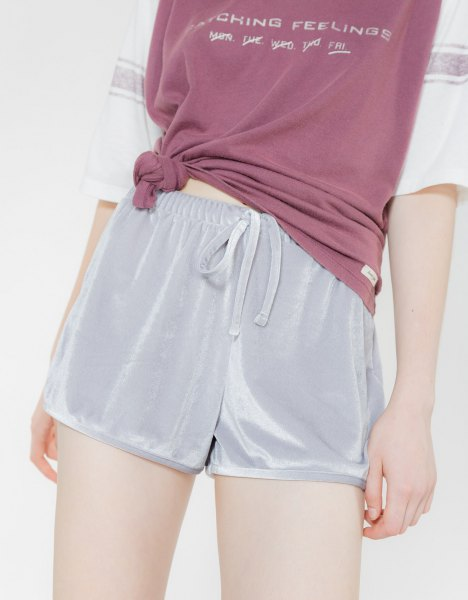 pink knotted half sleeve tee blush velvet shorts