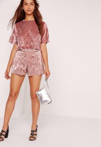 pink velvet shorts matching short sleeve top