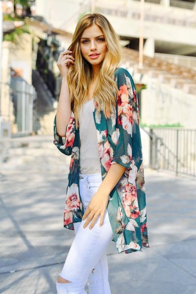 purple floral chiffon cardigan white ripped skinny jeans