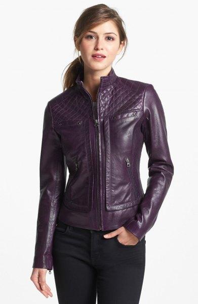 purple moto jacket black skinny jeans