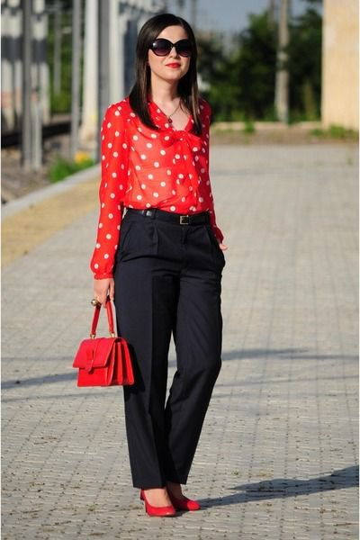 red and white polka dot shirt black wide leg chinos