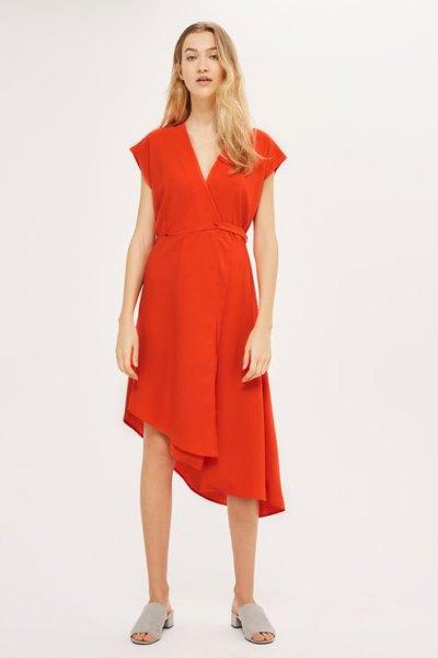 red asymmetric midi swing wrap dress