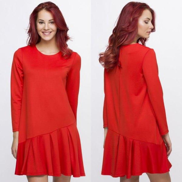 red asymmetrical long sleeve drop waist dress