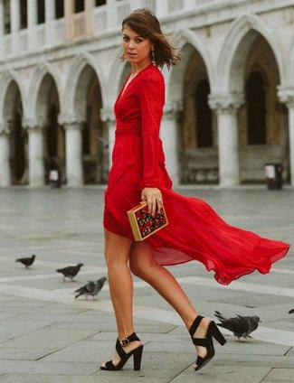 red chiffon high low wrap dress