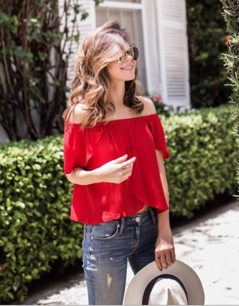 red off the shoulder blouse white felt hat