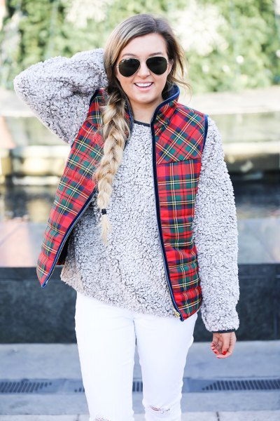 red plaid vest grey teddy sweater