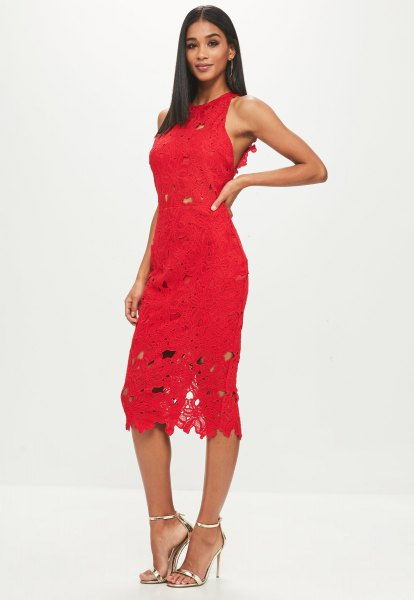 red sleeveless sheath midi lace dress