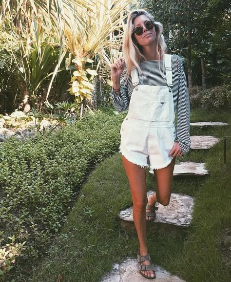 ripped overall shorts with black and white striped blouse