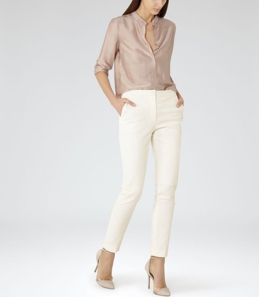 rose gold silk shirt white skinny pants