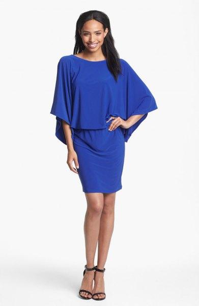 royal blue batwing mini blouson dress