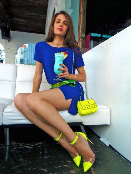 royal blue belted mini dress yellow ankle strap heels
