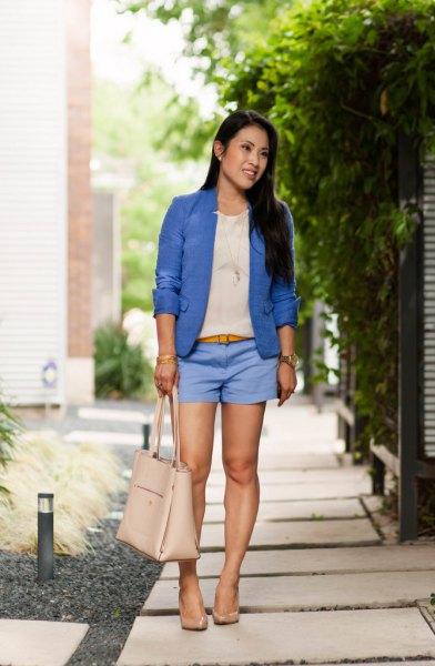 royal blue blazer sky blue shorts