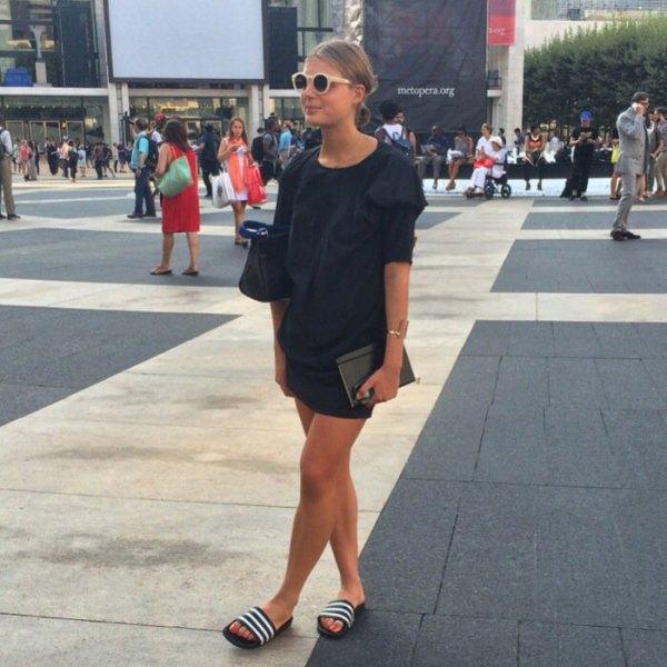 shift mini dress black slide sandals with white stripes