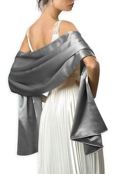 silver shawl white pleated chiffon maxi dress