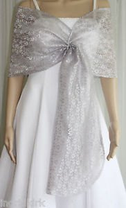 silver sheer shawl white wedding dress