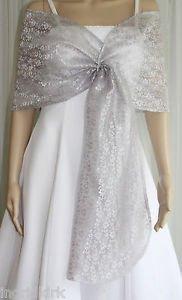 silver sheer shawl white wedding dress