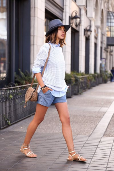 sky blue linen shorts white knit sweater