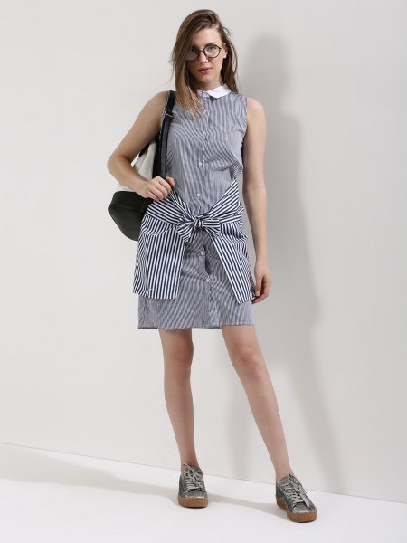 striped white collar shirt dress another one tied around waist