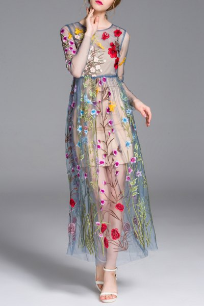 teal semi sheer floral embroidered maxi dress