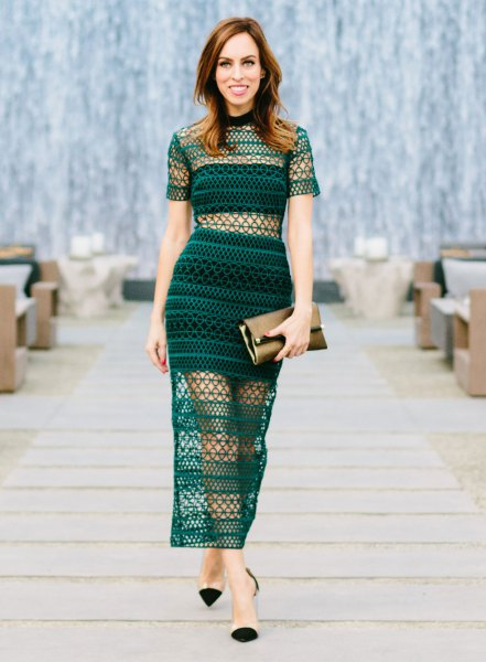 teal two piece bodycon dress mesh overlay