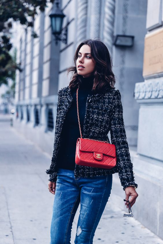 tweed blazer colorful red bag