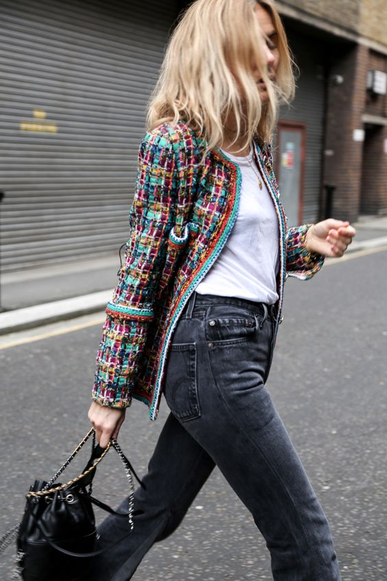 tweed blazer colorful white tee