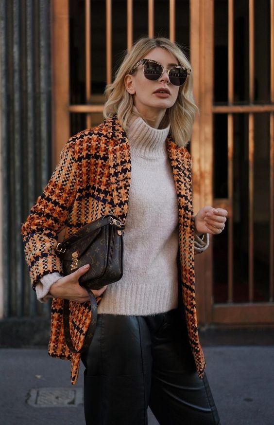 tweed blazer plaid orange