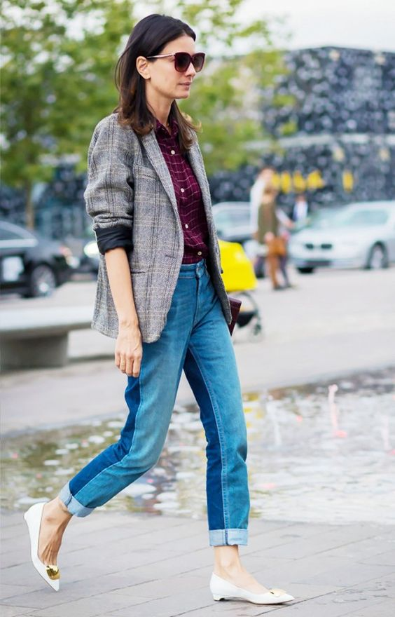 tweed blazer plaid two tones jeans