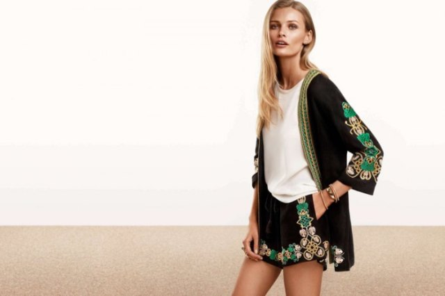 two piece set of black embroidered cardigan and shorts