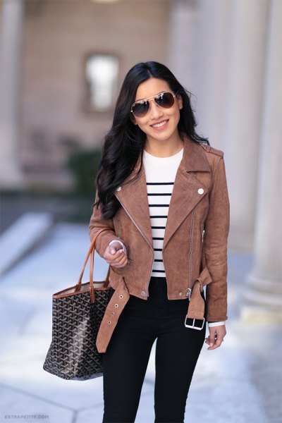 white and black striped knit sweater black jeans