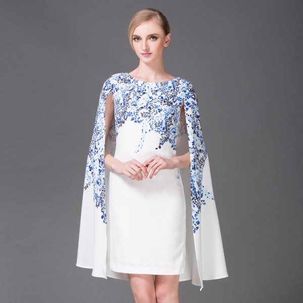 white and blue floral printed cape dress