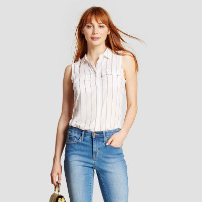 white and grey striped shirt blue washed jeans