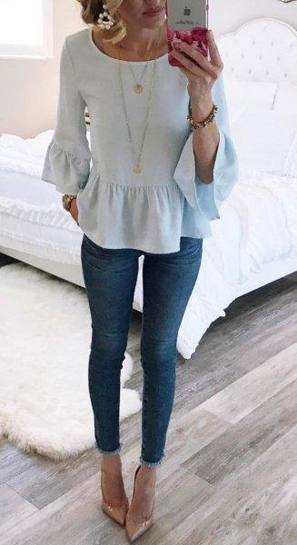 white bell sleeve ruffle hem blouse