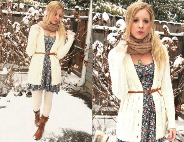 white belted cable knit cardigan floral dress