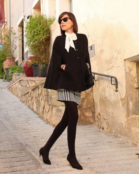 white blouse crepe and black plaid mini skirt