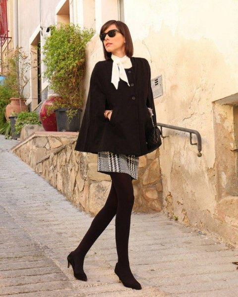 white blouse crepe and black plaid mini skirt