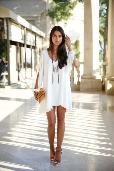 white boho style ruffle shift dress