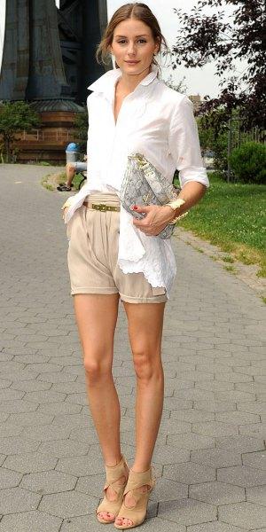 white button up shirt beige khaki shorts