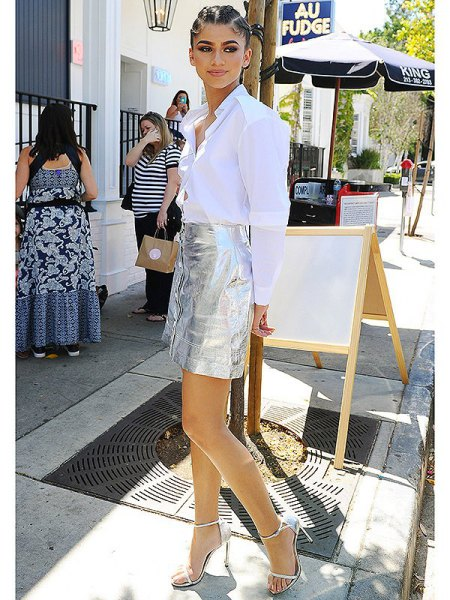 white button up shirt silver metallic button front mini skirt