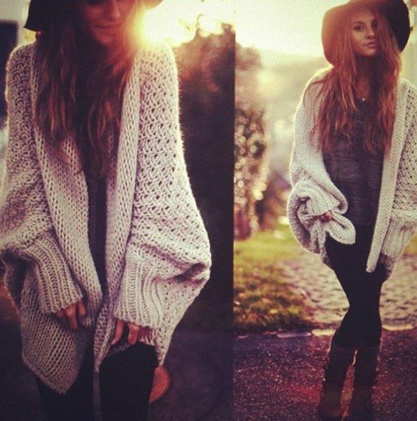 white cable knit cardigan black shift dress