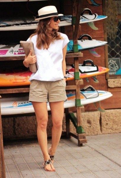 white cap sleeve blouse straw hat