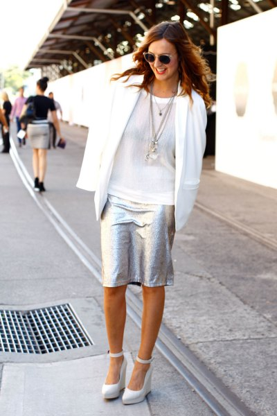 white casual blazer silver knee length skirt