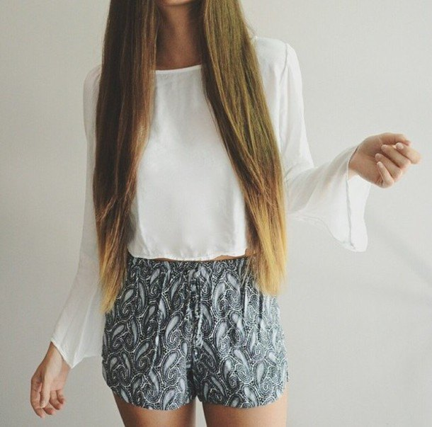 white chiffon bell sleeve top tribal printed shorts